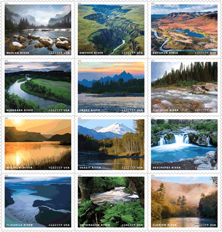 美国5月21日发行河流风景邮票