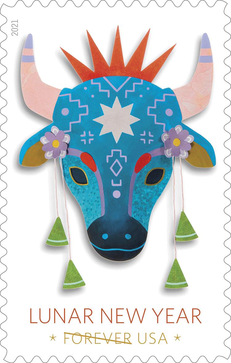 美国2月2日发行农历新年牛年邮票