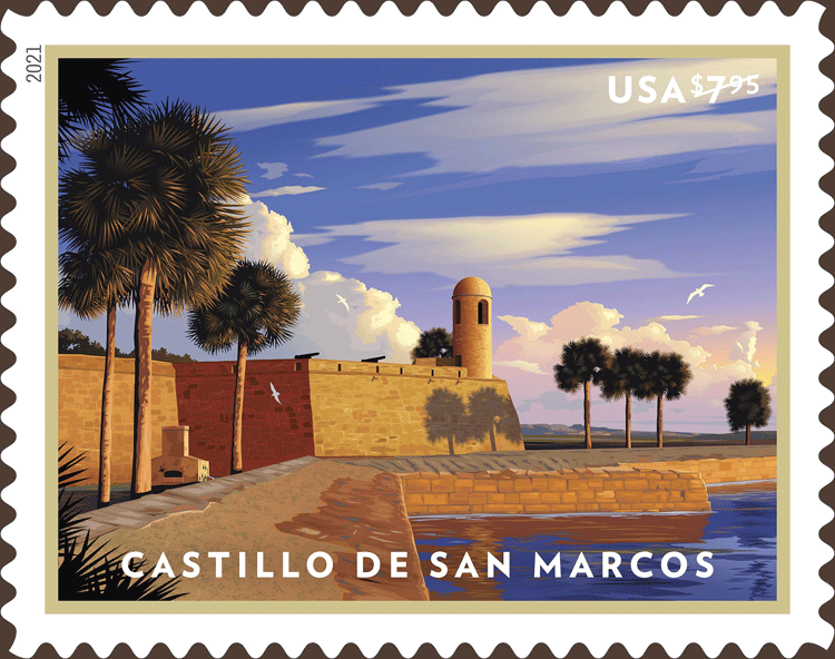 美国1月21日发行7.95美元圣马科斯城堡优先邮票