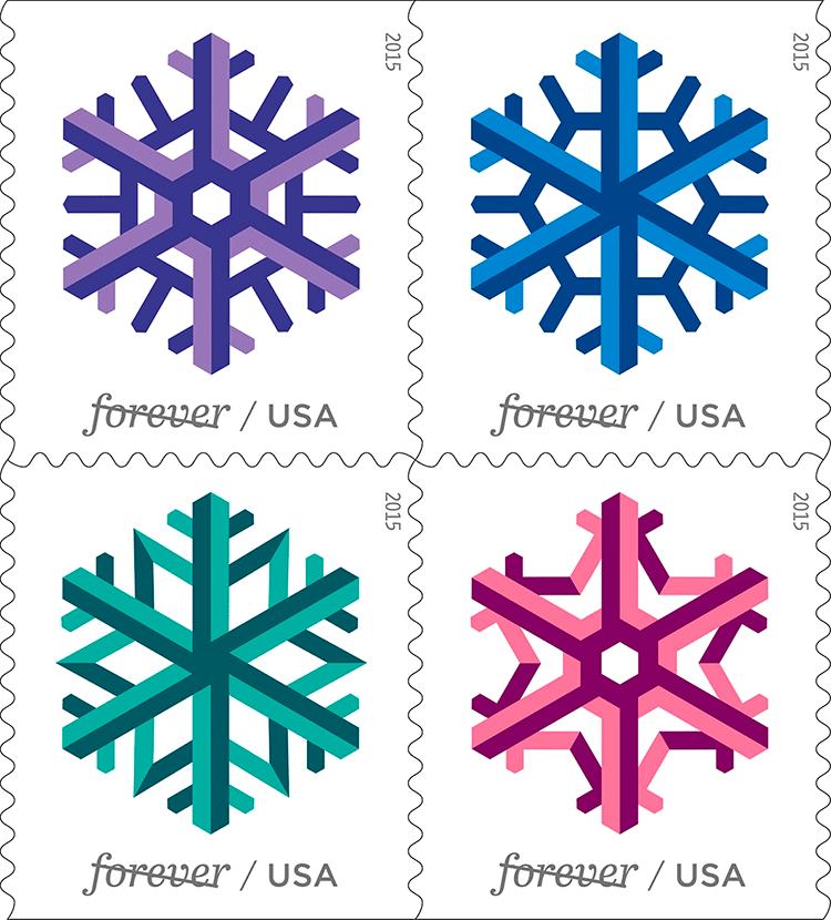 Geometric Snowflakes (U.S. 2015)   virtualstampclub.com