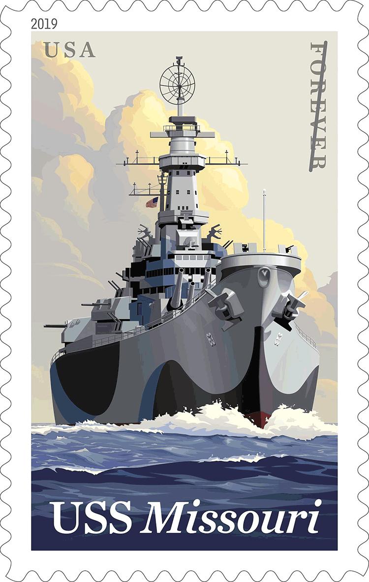 美国6月11日发行密苏里号战列舰邮票